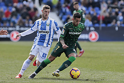 February 10, 2019 - Madrid, Madrid, Spain - CD Leganes's Ruben Perez and Real Betis Balompie's Sergio Leon during La Liga match between CD Leganes and Real Betis Balompie at Butarque Stadium in Madrid, Spain. February 10, 2019. (Credit Image: © A. Ware/NurPhoto via ZUMA Press)