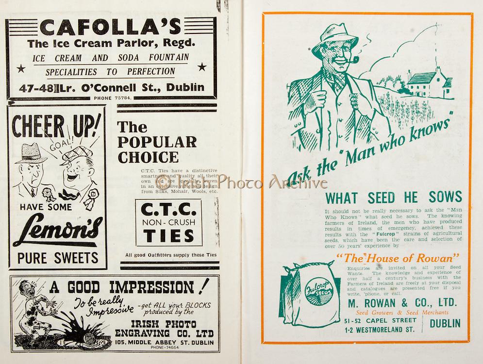 All Ireland Senior Hurling Championship Final,.Brochures,.01.09.1946, 09.01.1946, 1st September 1946, .Cork 7-5, Kilkenny 3-8, .Minor Dublin v Tipperary.Senior Cork v Kilkenny.Croke Park, ..Advertisements, Cafolla's The Ice Cream Parlor, Lemon's Pure Sweets, CTC Non-Crush Ties, Irish Photo Engraving Co Ltd, M. Rowan & Co Ltd Seed Growers & Seed Merchants,