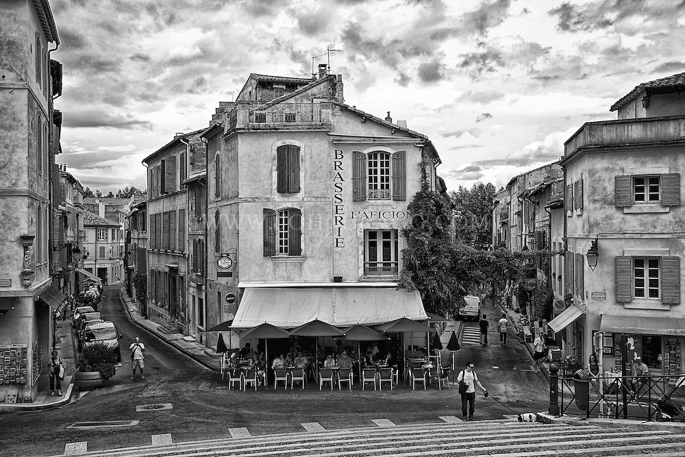 Black and white view of the forum square arles france
