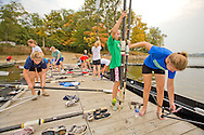 Junior (i.e. high school) rowing groups practicing at Eagle Creek