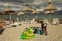 at the beach of Baska, a toan on Krk Island, Croatia