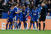 Leicester City forward Leonardo Ulloa  celebrates second goal 2-0 during the Barclays Premier League match between Leicester City and Swansea City at the King Power Stadium, Leicester, England on 24 April 2016. Photo by Alan Franklin.