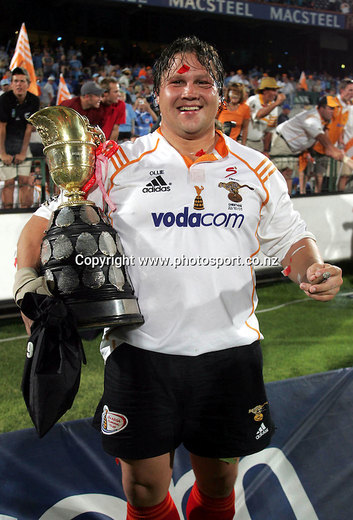 22/10/2005 Currie Cup Final Bulls vs Cheetahs at Loftus Pretoria - Cheetahs won 29-25 - Olie Le Roux holds the Currie Cup and smokes a cigar in celebration of their victory