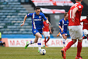 Gillingham midfielder Andrew Crofts breaks into the penalty area with the ball during the Sky Bet League 1 match between Gillingham and Coventry City at the MEMS Priestfield Stadium, Gillingham, England on 2 April 2016. Photo by David Charbit.