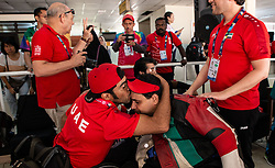 October 12, 2018 - Jakarta, Jakarta, Indonesia - Jakarta, Indonesia, 12 October 2018 : ABDULLA from United Emirat Arab kissed by his partner after win gold medal. Para Asian Games shooting competition at Gelora Bung Karno sports center-Jakarta. (Credit Image: © Donal Husni/ZUMA Wire)