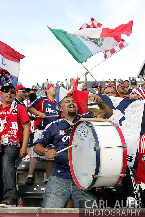 May 25th, 2013 Commerce City, CO - Chivas USA fans cheer as their team takes the field prior to the start of action in the MLS match between Chivas USA and the Colorado Rapids at Dick's Sporting Goods Park in Commerce City, CO