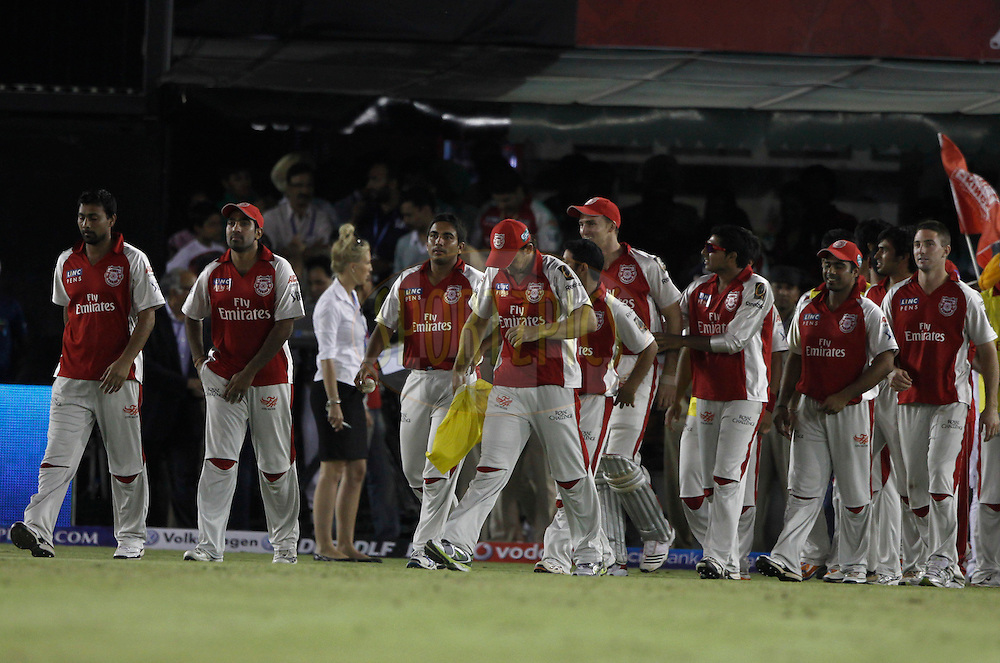 Kings XI Punjab playes after the win the match 9 of the Indian Premier League ( IPL ) Season 4 between the Kings XI Punjab and the Chennai Super Kings held at the PCA stadium in Mohali, Chandigarh, India on the 13th April 2011..Photo by Pankaj Nangia/BCCI/SPORTZPICS