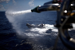 INDIAN OCEAN 6APR13 - Sea Serpent anti-piracy water cannon during testing with RHIB on board the Greenpeace ship Esperanza in the Indian Ocean.<br /> <br /> <br /> <br /> jre/Photo by Jiri Rezac / Greenpeace
