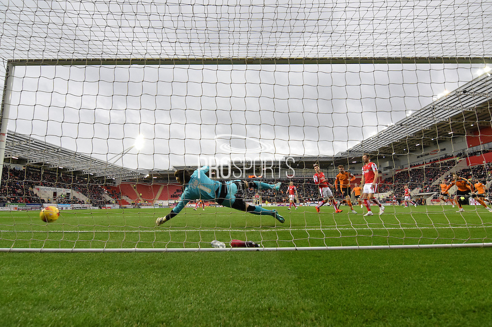Wolverhampton Wanderers midfielder James Henry scores  for wolves to go 1-0 up  during the Sky Bet Championship match between Rotherham United and Wolverhampton Wanderers at the New York Stadium, Rotherham, England on 5 December 2015. Photo by Ian Lyall.