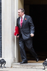 London, October 31 2017. International Trade Secretary Liam Fox leaves the weekly UK cabinet meeting at Downing Street. © Paul Davey