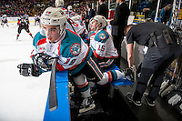 KELOWNA, CANADA - FEBRUARY 18: Dillon Dube #19 of the Kelowna Rockets gets a quick blade change by equipment manager Chaydyn Johnson during first period against the Prince George Cougars on February 18, 2017 at Prospera Place in Kelowna, British Columbia, Canada.  (Photo by Marissa Baecker/Shoot the Breeze)  *** Local Caption ***