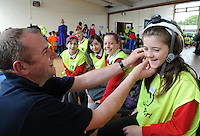 """Keep Safe"" road show comes to Galway school children .Over one hundred and twenty children have attended a 'Keep Safe' event in Scoil Chaitríona, Renmore, Co. Galway.  A range of state agencies and organisations came together to deliver the programme which is directed at 5th and 6th class pupils.  It aims to promote safety and community awareness through involving the children in a series of interactive scenarios with a strong safety theme. Marion Bailey  from the Holy Trinity National School had some fun with Michael Casserly Galway Mountain Rescue . .Photo:Andrew Downes."