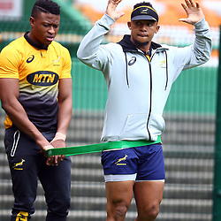 Aphiwe Dyantyi with Elton Jantjies of South Africa during the South African - Springbok Captain's Run at DHL Newlands Stadium. Cape Town.South Africa. 22,06,2018 23,06,2018 Photo by (Steve Haag JMP)