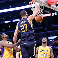 05 December 2016: Utah Jazz center Rudy Gobert (27) dunks the ball against Los Angeles Lakers forward Luol Deng (9) and Los Angeles Lakers forward Julius Randle (30) during the Utah Jazz 107-101 victory over the Los Angeles Lakers, at the Staples Center, Los Angeles, California, USA.