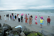 01/06/2014 Zumba warm up ahead of Dip in the nip which took place in Galway at dawn 5.15 on Silver Strand .Photo:Andrew Downes
