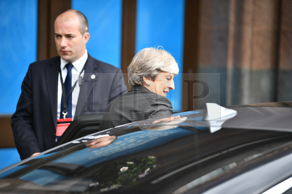 © Licensed to London News Pictures. 03/10/2017. Manchester, UK. British prime minister THERESA MAY seen on three of the Conservative Party Conference. The four day event is expected to focus heavily on Brexit, with the British prime minister hoping to dampen rumours of a leadership challenge. Photo credit: Ben Cawthra/LNP