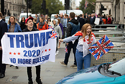 © Licensed to London News Pictures. 05/09/2018. London, UK. Pro-Brexit demonstrators and some far-right sympathisers jeer at cars leaving the Houses of Parliament, whilst calling for Britain's immediate exit from the EU, and the re-instating of former Foreign Secretary Boris Johnson. Photo credit : Tom Nicholson/LNP