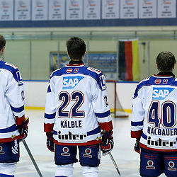 WHITBY, ON - Nov 27 : Ontario Junior Hockey League International Exhibition, between the Whitby Fury and the visiting Adler Mannheim from Germany.  Tobias Schmitz #25, Lukas Kälble #22 and Phillip Halbauer #40 of Team Germany during the National Anthem.<br /> (Photo by Tim Bates / OJHL Images)