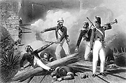 Indian Mutiny 1857-1859, also known as the Sepoy Mutiny or the Great War of Independence: blowing up of the Cashmere Gate, Delhi. Shot through arm and leg, Lieutenant Salkeld hands aslow match to Corporal Burgess who was mortally wounded just after lighting charge. Engraving.