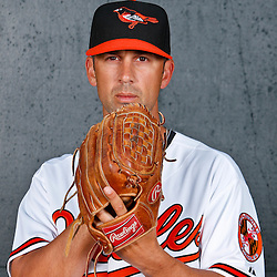 February 26, 2011; Sarasota, FL, USA; Baltimore Orioles pitcher David Riske (56) poses during photo day at Ed Smith Stadium.  Mandatory Credit: Derick E. Hingle