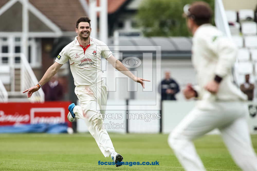 James Anderson of Lancashire County Cricket Club celebrates taking a wicket during the LV County Championship Div One match at the County Ground, Northampton. <br /> Picture by Andy Kearns/Focus Images Ltd 0781 864 4264  29/04/2014