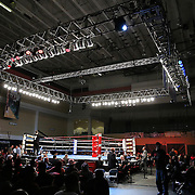 "The ring during the ""Boxeo Telemundo"" boxing match at the Kissimmee Civic Center on Friday, March 14, 2014 in Kissimmme, Florida. (Photo/Alex Menendez)"