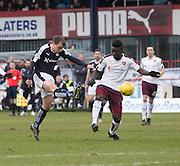 Dundee&rsquo;s Paul McGowan and Hearts&rsquo; Prince Buaben - Dundee v Hearts - Ladbrokes Premiership at Dens Park <br />  - &copy; David Young - www.davidyoungphoto.co.uk - email: davidyoungphoto@gmail.com