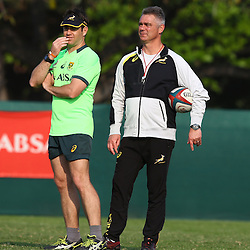 DURBAN, SOUTH AFRICA - AUGUST 25: Johann van Graan (Forwards Coach) of South Africa with Heyneke Meyer (Head Coach) of South Africa during the South African national rugby team training session at Moses Mabhida Outer Fields on August 25, 2015 in Durban, South Africa. (Photo by Steve Haag/Gallo Images)