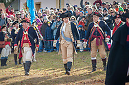 General George Washington as portrayed by John Godzieba (center), Langhorne Police Chief leads his troops as the go to cross the Delaware River during the dress rehearsal for Washington Crossing the Delaware  Sunday, December 08, 2019 at Washington Crossing State Park in Washington Crossing, Pennsylvania. The actual re-enactment takes place on Christmas Day, December 25, 2019.  (Photo by William Thomas Cain/CAIN IMAGES)