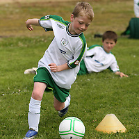 Joseph Miniter practicing his skills at the FAI summer soccer camp in Gallery Park in Kilrush during the week.<br /> Photograph by Yvonne Vaughan
