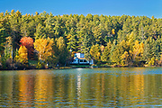 Dock and cottages and Autumn on Crow Lake (also known as Kakagi Lake).<br />