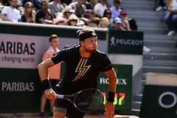 May 27, 2019 - Paris, France - Jozef Kovalík during mens singles first round match between Jozef Kovalik and Stan Wawrinka of Switzerland during Day two of the 2019 French Open at Roland Garros on May 27, 2019 in Paris, France. (Credit Image: © Ibrahim Ezzat/NurPhoto via ZUMA Press)
