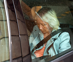 © Licensed to London News Pictures. 04/08/2015. Bristol, UK.  Anjie Galsworthy, the step-mother of murder victim Becky Watts and also the mother of Nathan Matthews who is charged with Becky's murder, leaves Bristol Crown Court after a preliminary hearing in the case.  Photo credit : Simon Chapman/LNP