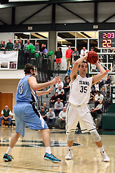 20 February 2016:  Brandon Schwebke holds Kevin Connelly(35) outside during an NCAA men's division 3 CCIW basketball game between the Elmhurst Bluejays and the Illinois Wesleyan Titans in Shirk Center, Bloomington IL