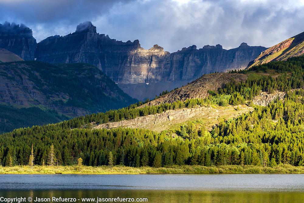 Mountain range above Swiftcurrent Lake, Glacier National Park, Montana