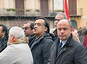 Termini Imerese,Sicily,  strike of workers in Termini Imerese,  Leoluca Orlando during the protest.<br /> Termini Imerese sciopero indetto dalla Fiom, Leoluca Orlando partecipa alla manifestazione.