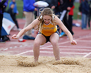 Rachel Smith of Pittsford Sutherland competes in the triple jump at the His and Her track and field invitational at Penfield High School on Saturday, April 26, 2014.