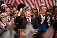July 1984, New York, New York, USA --- United States presidential candidate Walter Mondale at the podium with running mate Geraldine Ferraro and supporters, including Governor Mario Cuomo and Mayor Ed Koch, during the 1984 election campaign. --- Image by © Owen Franken/CORBIS