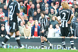 LIVERPOOL, ENGLAND - Sunday, May 3, 2009: Newcastle United's Joey Barton looks dejected as he is sent off against Liverpool during the Premiership match at Anfield. (Photo by David Rawcliffe/Propaganda)
