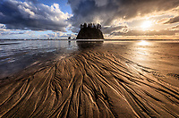 Sunset over Second Beach, Olympic National Park, USA.