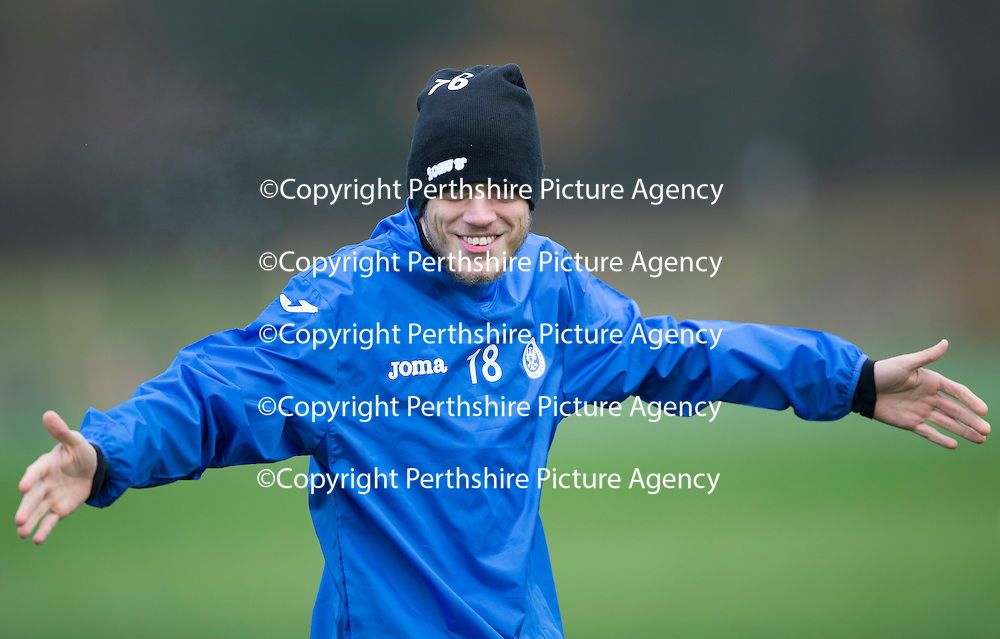 St Johnstone Training....21.11.14<br /> Murray Davidson pictured in training this morning ahead of tomorrow's league gam against Ross County.<br /> Picture by Graeme Hart.<br /> Copyright Perthshire Picture Agency<br /> Tel: 01738 623350  Mobile: 07990 594431