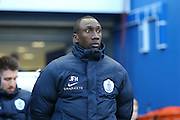 Queens Park Rangers manager Jimmy Floyd Hasselbaink during the Sky Bet Championship match between Brighton and Hove Albion and Queens Park Rangers at the American Express Community Stadium, Brighton and Hove, England on 19 April 2016.