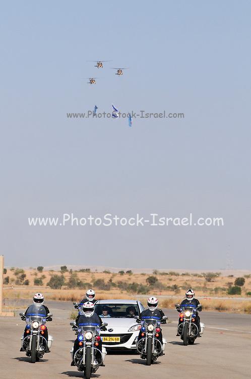 Israel, Hazirim, near Beer Sheva, Flight School graduation Parade. Motorcycle convoy