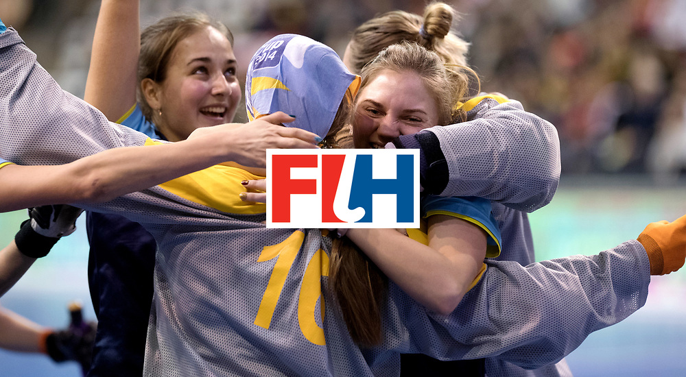 BERLIN - Indoor Hockey World Cup<br /> Quarterfinal 2: Ukraine - Switzerland<br /> foto: Ukraine celebrate their win.<br /> WORLDSPORTPICS COPYRIGHT FRANK UIJLENBROEK