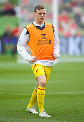 DUBLIN, REPUBLIC OF IRELAND - Wednesday, May 14, 2014: Liverpool's Brad Smith warms-up before a postseason friendly match against Shamrock Rovers at Lansdowne Road. (Pic by David Rawcliffe/Propaganda)