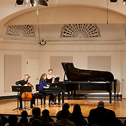 June 12, 2012 - New York, NY : Cellist Eric Bartlett, left, and pianist Margaret Kampmeier, second from left, perform Paul Suits's 'Fantasy' (1984, rev. 2011) during the Institute & Festival for Contemporary Performance 2012 at the Mannes Concert Hall in Manhattan on Tuesday night. CREDIT: Karsten Moran for The New York Times