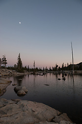 """Lake Aloha Sunset 4"" - Photograph of a moon over Lake Aloha at sunset in the Tahoe Desolation Wilderness."