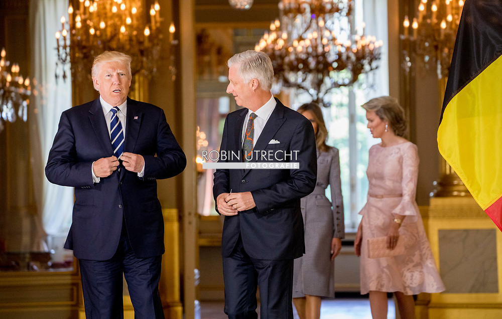 24-5-2017 BRUSSELS - Queen Mathilde of Belgium, US President Donald Trump and First Lay Melania Trump meet with King Philippe and Queen Mathilde of Belgium at the Royal Palace in Brussels, Belgium, on May 24, 2017. <br /> 24-5-2017 BRUSSEL - Koningin Mathilde van Belgi&euml;, Amerikaanse president Donald Trump en First Lay Melania Trump ontmoeten met koning  Philippe en koningin Mathilde van Belgi&euml; in het Koninklijk Paleis in Brussel, Belgi&euml;, op 24 mei 2017.