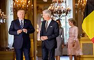 24-5-2017 BRUSSELS - Queen Mathilde of Belgium, US President Donald Trump and First Lay Melania Trump meet with King Philippe and Queen Mathilde of Belgium at the Royal Palace in Brussels, Belgium, on May 24, 2017. <br /> 24-5-2017 BRUSSEL - Koningin Mathilde van Belgi&euml;, Amerikaanse president Donald Trump en First Lay Melania Trump ontmoeten met koning  Philippe en koningin Mathilde van Belgi&euml; in het Koninklijk Paleis in Brussel, Belgi&euml;, op 24 mei 2017.