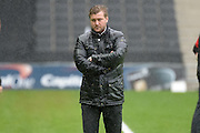 MK Dons manager Karl Robinson looks forlorn during the Sky Bet Championship match between Milton Keynes Dons and Rotherham United at stadium:mk, Milton Keynes, England on 9 April 2016. Photo by Dennis Goodwin.